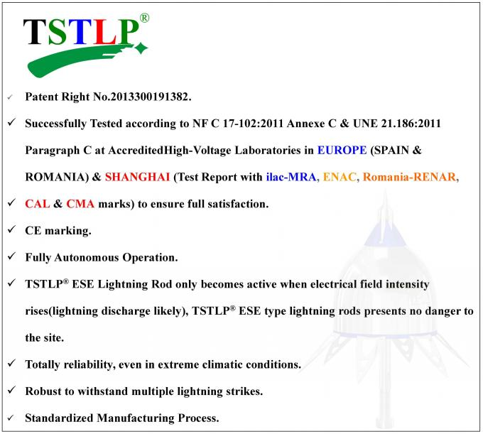 Overseas Certified Ese Lightning Conductor TSTLP ESE types On Building