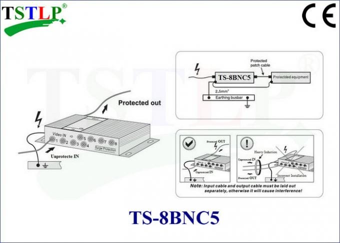 8 Ports Bnc Surge Protector , Video Signal Transmission Network Surge Protector